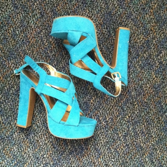 Mossimo Supply Co. Shoes - Mossimo Turquoise High Heel Suede Sandals - NWT